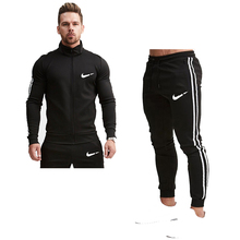 Spring and autumn new mens suit sportswear zipper pocket casual running fitness brand
