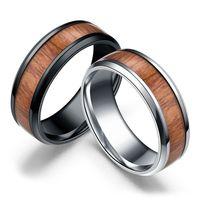 Wedding Ring Wood Inlay Titanium Steel Men Women Engagement Ring Band Size 6 13