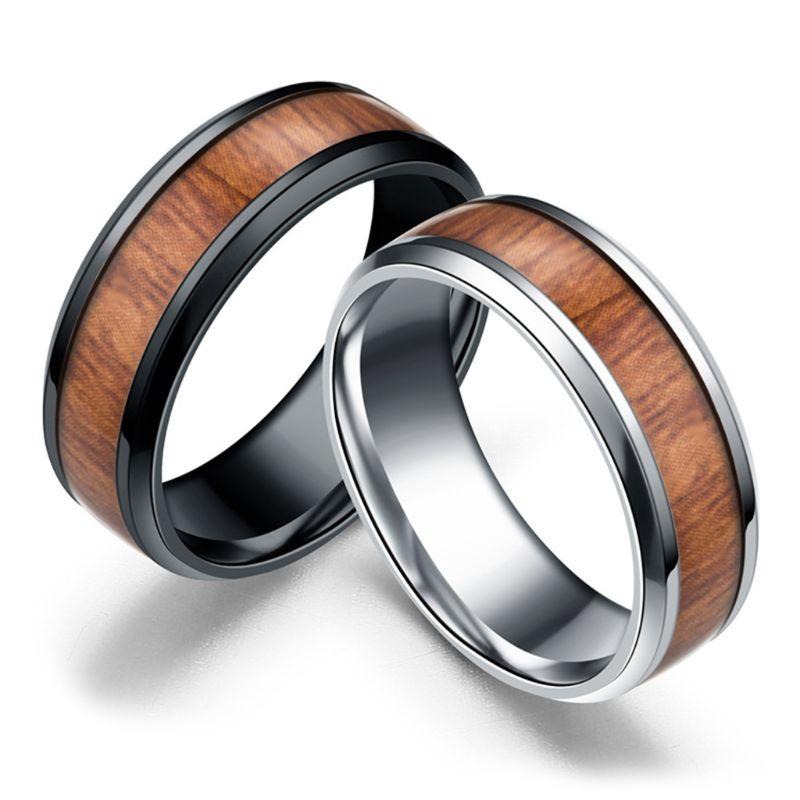 Bague de mariage incrustation de bois titane acier hommes femmes bague de fiançailles taille 6-13