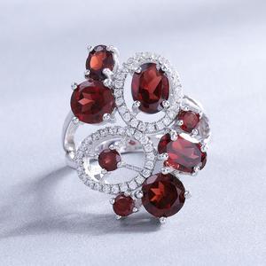 Image 3 - Ensemble de bijoux Vintage en grenat naturel, pierres précieuses en argent Sterling 925, ensemble de boucles doreilles et bagues pour femmes, bijoux fins