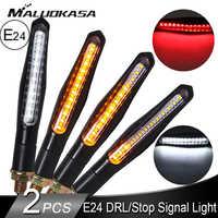 Motorcycle Turn Signals Light E24 Flexible Flowing Blinker DRL Lamp 24 LED Stop Signals Turn Indicator for Honda Suzuki Yamaha