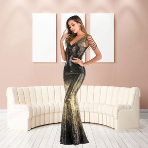 Image 5 - YIDINGZS Con Scollo A V Paillettes Oro Vestito Da Promenade Delle Donne Perline Elegante Lungo Del Partito di Sera del Vestito YD16180