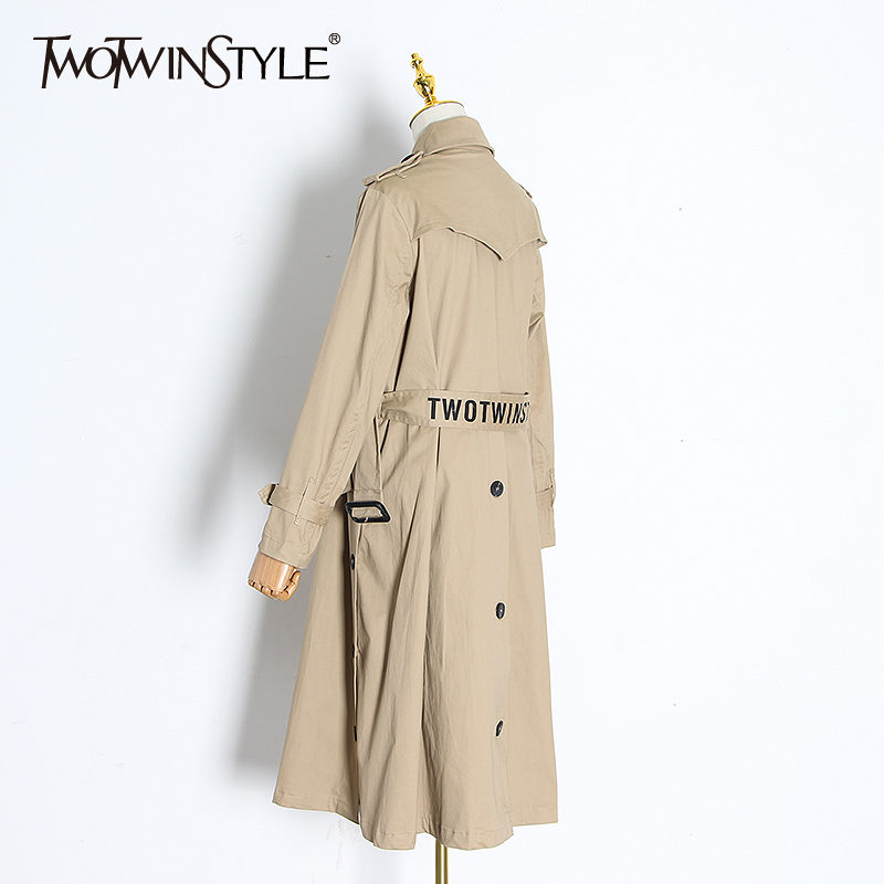 TWOTWINSTYLE Trench Coat For Women Lapel Collar Long Sleeve High Waist With Sashes Windbreaker Female 2020 Spring Fashion New