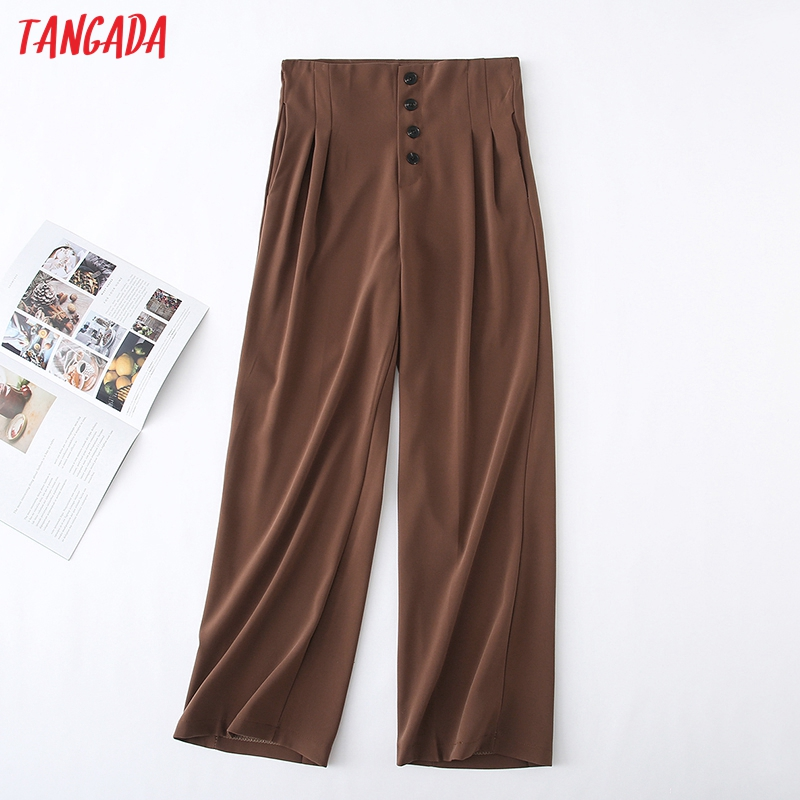 Tangada Women Chic High Waist Black Wide Leg Pants Buttons Office Lady Style Brown Gray Pants Female Long Trousers YU28