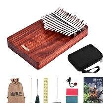 Aydınlatma K17A 17-key taşınabilir başparmak piyano Kalimba Mbira Sanza Padauk malzeme çanta ile nota kitabı çıkartmaları Tuning çekiç pikap