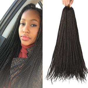 "Full Star Short Small Micro Box Braids 14"" 18"" Ombre Black Brown Bug Synthetic Hair Crochet Braids 22 strands/pack"