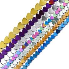 Jhnby ouro, roxo, verde, azul, coração de pêssego hematite 6/8/10mm espaçadores de pedra naturais grânulos soltos para jóias que fazem acessórios diy