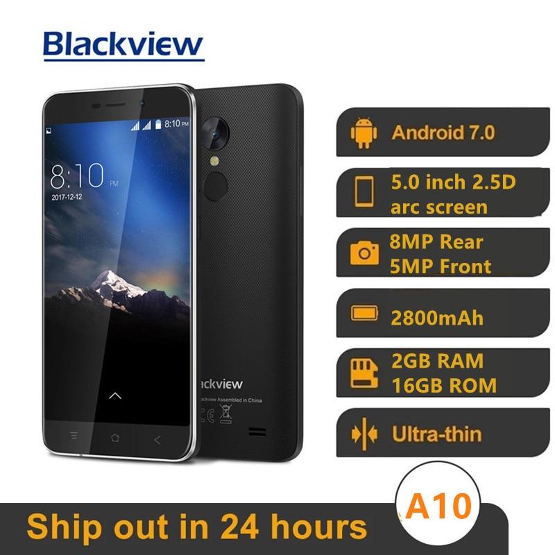 Оригинальный Новый Blackview A10 MT6580A 4 ядра, 2 Гб оперативной памяти, 16 Гб встроенной памяти, 5 ''HD 3G Смартфон Android 7,0 отпечатков пальцев 8.0MP 2800 мА/ч, мо...
