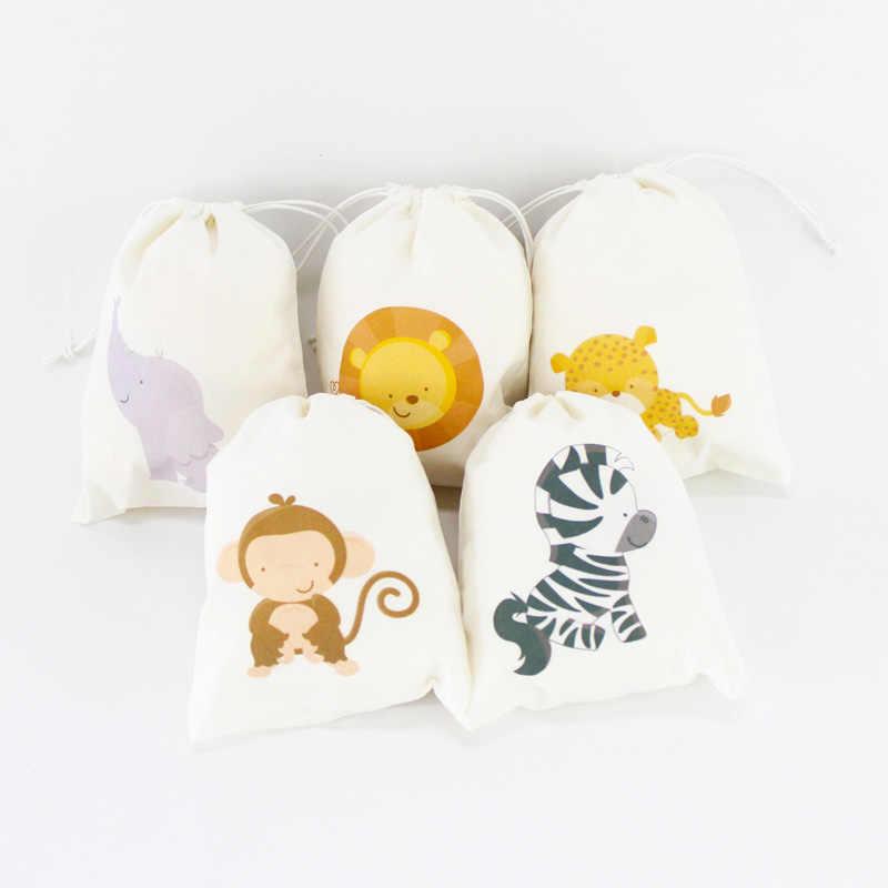 สัตว์ซาฟารี Party Supplies Favor กล่องเชิญฟางเค้ก Topper Party หมวกขวด Wrapper Flag Ball Baby Shower วันเกิด