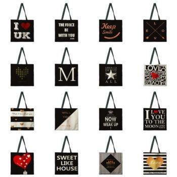 Black letter tote bag, shoulder bag, linen fabric casual tote bag, foldable shopping bag, reusable beach bag tow tone chevron tote bag