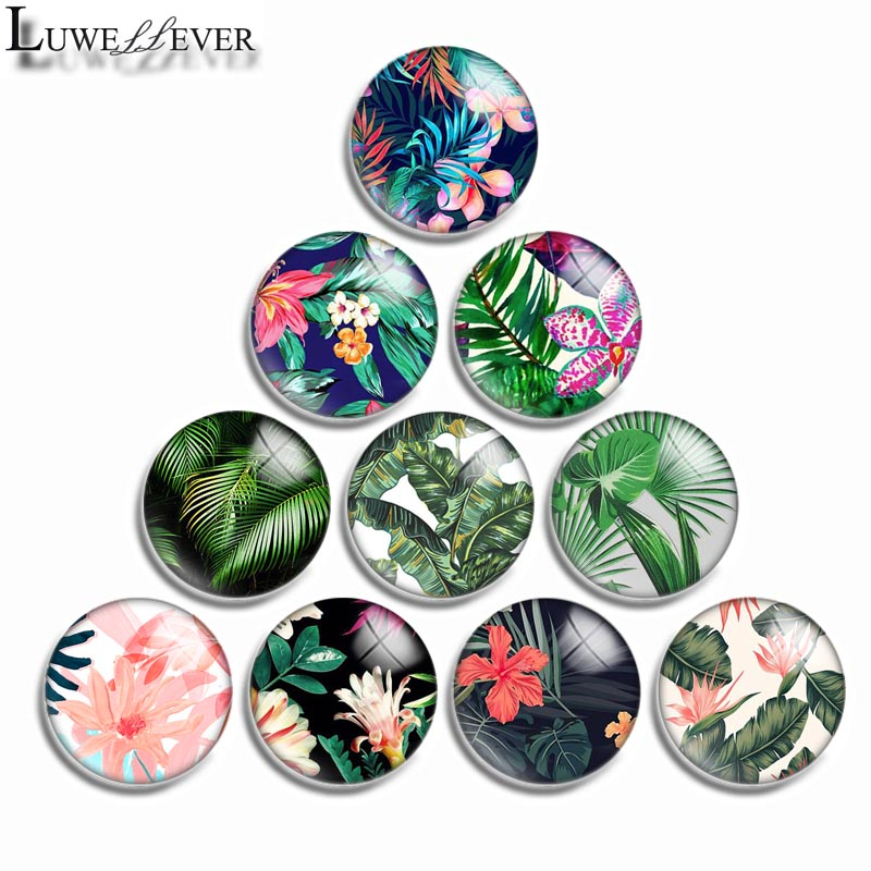 12mm 10mm 16mm 20mm 25mm 30mm 540 Green Plant Mix Round Glass Cabochon Jewelry Finding 18mm Snap Button Charm Bracelet