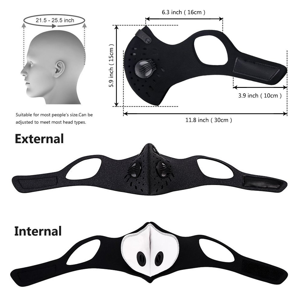 Anti-pollution Outdoor Sports Magic Head Hanging Ear Bicycle Mask PM2.5 Adjustable Size Washable Replaceable Filter Mask