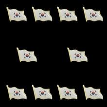 10PCS Korean Enamel Metal Country Flag Waving Lapel Pins Badge Brooch For Clothes 10pcs cuba flag country waving 3d lapel pins