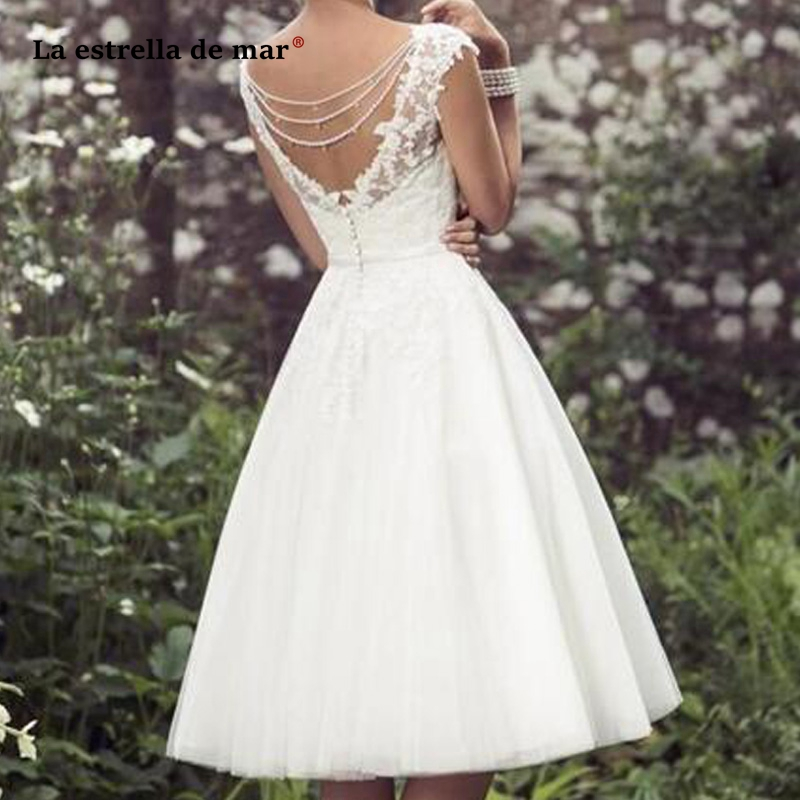 vestido de noiva 2020 new sexy V neck tulle applique crystal cap sleeve ivory wedding gowns Tea Length abito da sposa corto