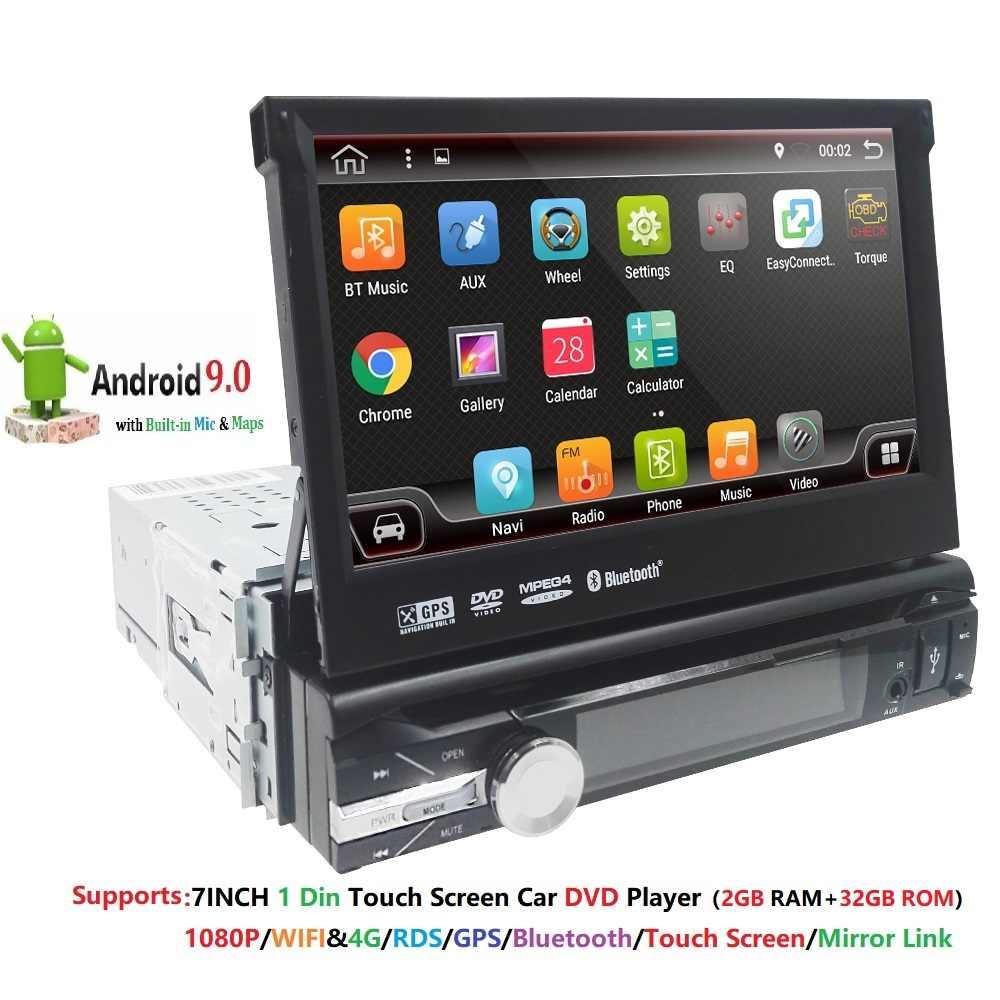 2 GB RAM واحد 1din 7 بوصة تعمل باللمس 4G واي فاي أندرويد 9.0 سيارة لتحديد المواقع راديو FM ستيريو رئيس وحدة مشغل الوسائط BT USB SD RDS SWC DAB +