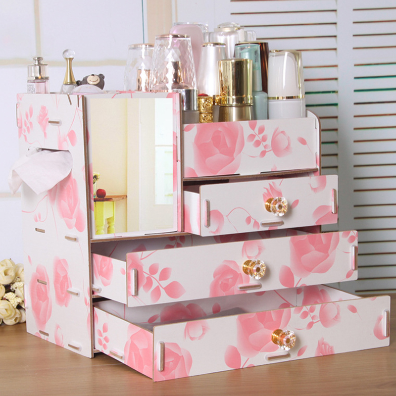 Makeup Organizer Drawers Wood Cosmetic Storage Box Jewelry  Dressing Table Skin Care Rack   Container Plastic Mirror Organizer