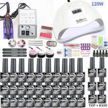 Gel Nail Set 120W UV Lamp Nail Dryer For Manicure Gel Electric Nail Drill For Nail Art Nail Drill Manicure Machine Cutter Tools