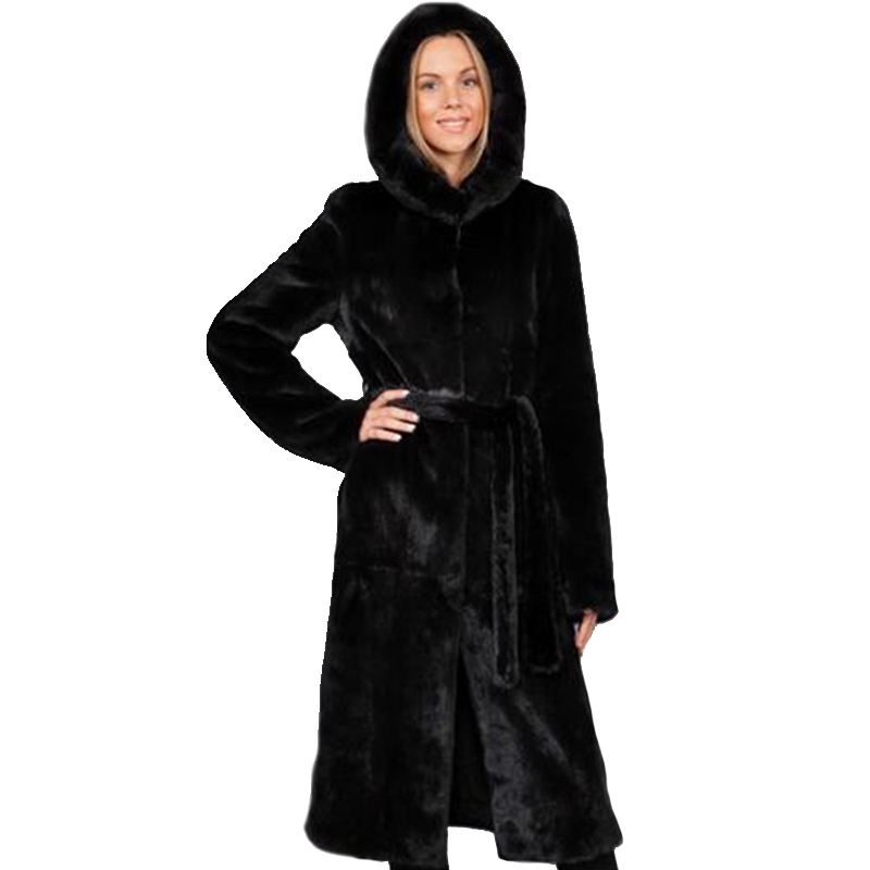 Winter dicken warmen Pelzmantel mit Kapuze X-lange schwarze - Damenbekleidung - Foto 1