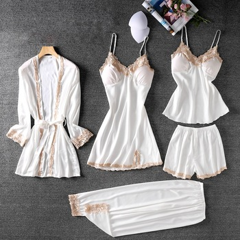 Pijama Sexy de verano para Mujer, conjunto de 5 piezas, pijama de satén con encaje, pijama de seda para Mujer, pijama de satén para el hogar, Pijamas de Mujer
