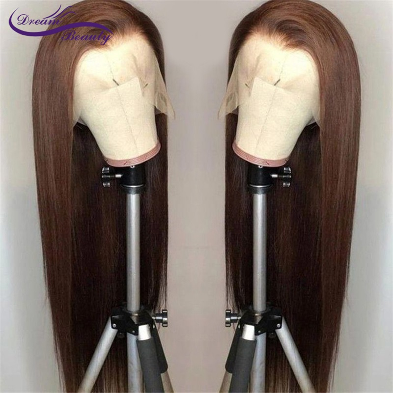 Dream Beauty Lace Front Human Hair Wigs Straight Brown Color 13X6 Lace Front Hair Wigs With Baby Hair PrePlucked Remy Hair