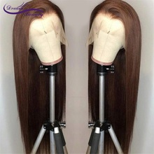Dream Beauty Lace Front Human Hair Wigs Straight Brown Color