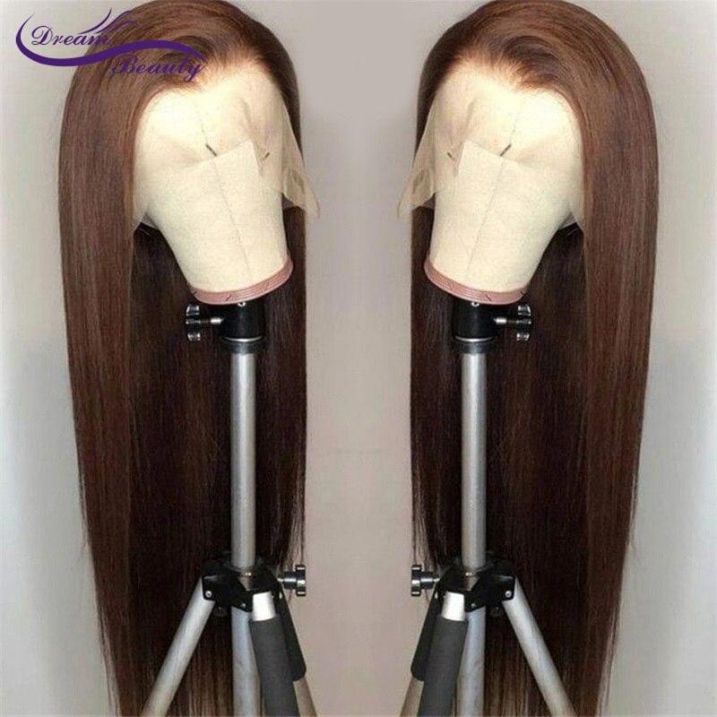Sonho beleza frente do laço perucas de cabelo humano em linha reta cor marrom 13x6 perucas de cabelo frontal do laço com o cabelo do bebê preplucked remy cabelo