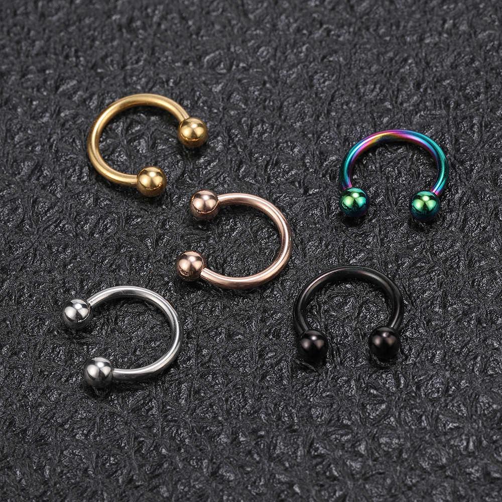 Zs colorido aço inoxidável nariz anéis feminino hélice cartilagem tragus brinco umbigo piercing mamilo septo anéis accesorios mujer