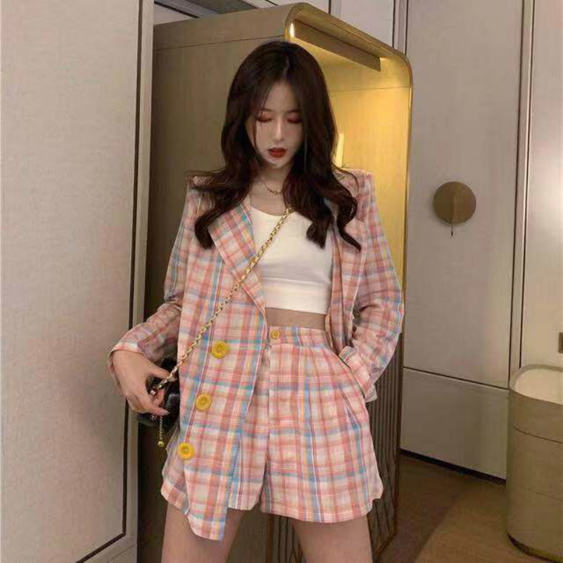 Cotton Linen Women Blazer Set Spring Autumn Two Piece Set Plaid Blazer Jacket & Short Pant Suits Streetwear Short  Tracksuit