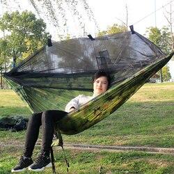 Dupla pessoa hammock parachute portátil acampamento ao ar livre indoor casa jardim dormir cama de rede 300kg carga máxima frete grátis