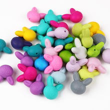 10pcs Silicone Beads Animal Rabbit Food Grade Baby Silicone Teething Toy BPA-Free DIY Pacifier Chain Accessories