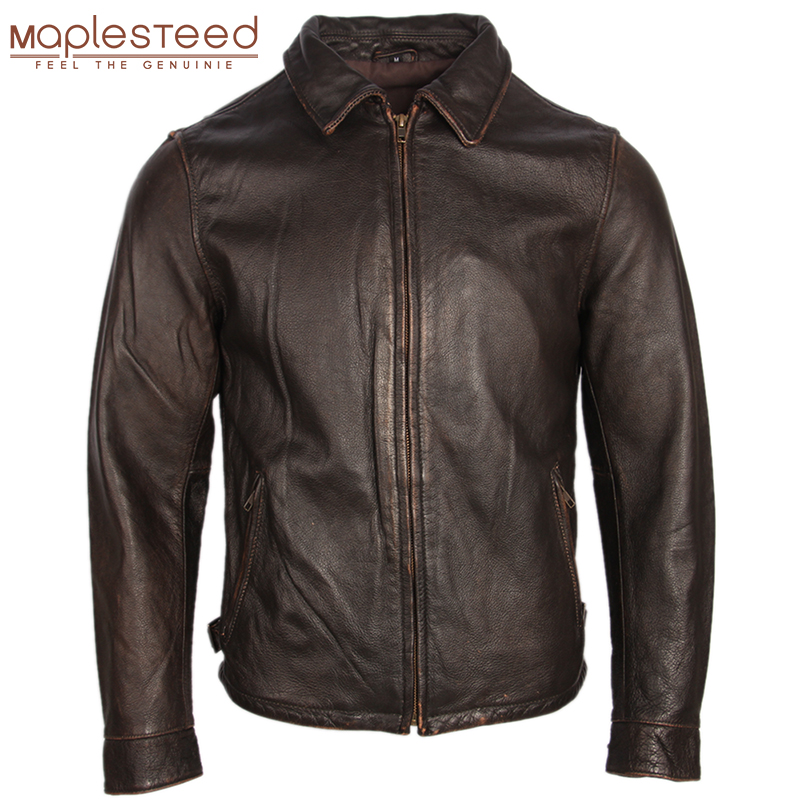 Vintage Distressed Leather Jacket For Men Leather Coat Stone Milled 100% Natural Cow Skin Men Bomber Leather Jackets Autumn M252