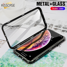 KISSCASE Tempered Glass Magnetic Absorption Case for iPhone XR 8 7 6S 6 360 Magnet Phone X XS Max s Plus