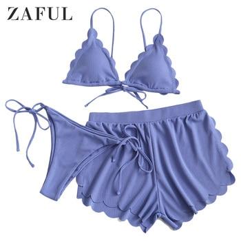 ZAFUL Cornflower Blue Ribbed Scalloped Cami Three Pieces Bikini Swimsuit Women Low Waisted Triangle Bikini Sets Padded Swimwear crisscross backless scalloped peplum cami top
