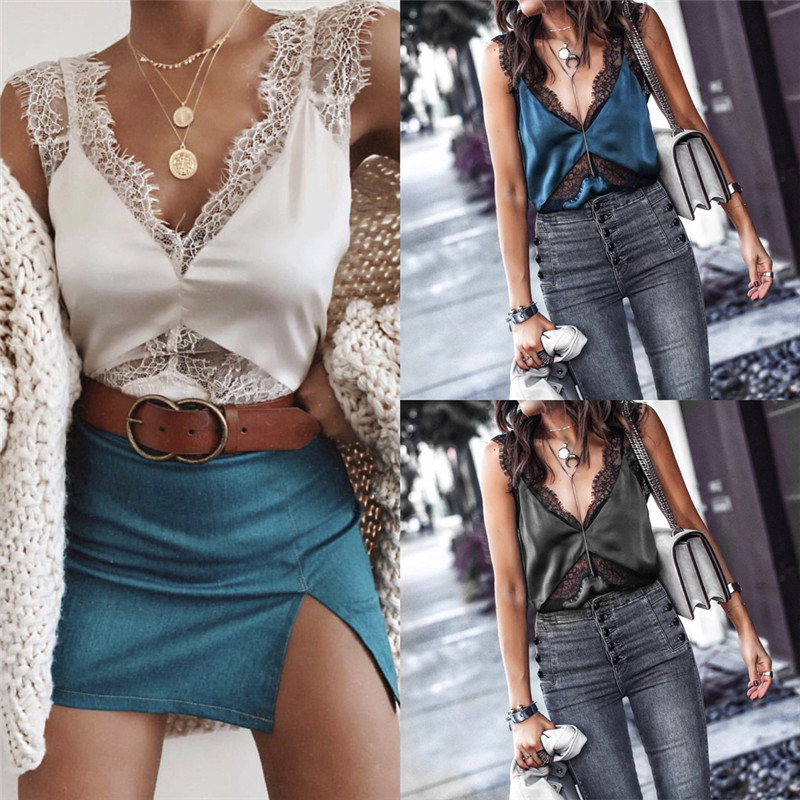 3 Colors Fashion Women Casual Camisole Lace Camis Plain Strappy Vest   Top   Sleeveless Blouse   Tank