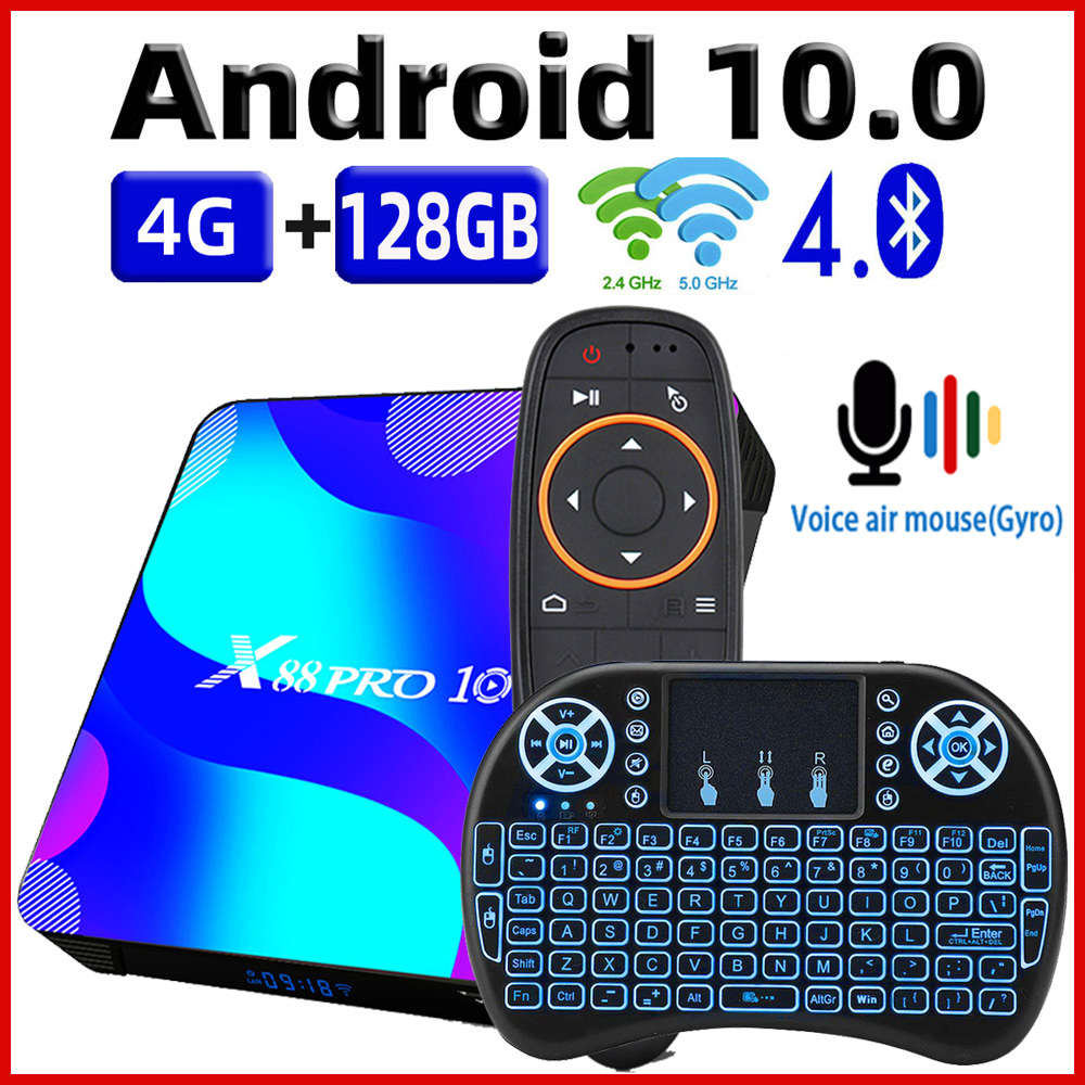 TV Box Android 10 Smart TV Box X88 PRO 10 4GB 64GB 32GB Rockchip RK3318 4K TVbox Support Google Youtube Set Top Box x88pro 10 0