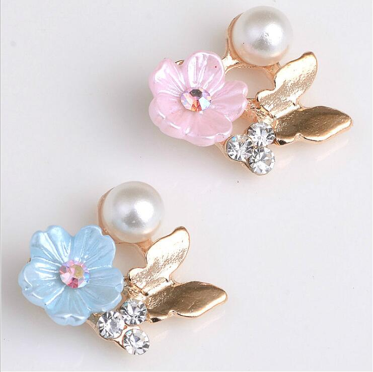 10pcs Flower Pearl Rhinestone Flatback Embellishments Buttons Wedding Decor