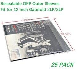 25 Resealable 4.7 Mil plastikowa płyta winylowa zewnętrzne rękawy dla GATEFOLD 2LP 3LP|Gramofony|Elektronika użytkowa -