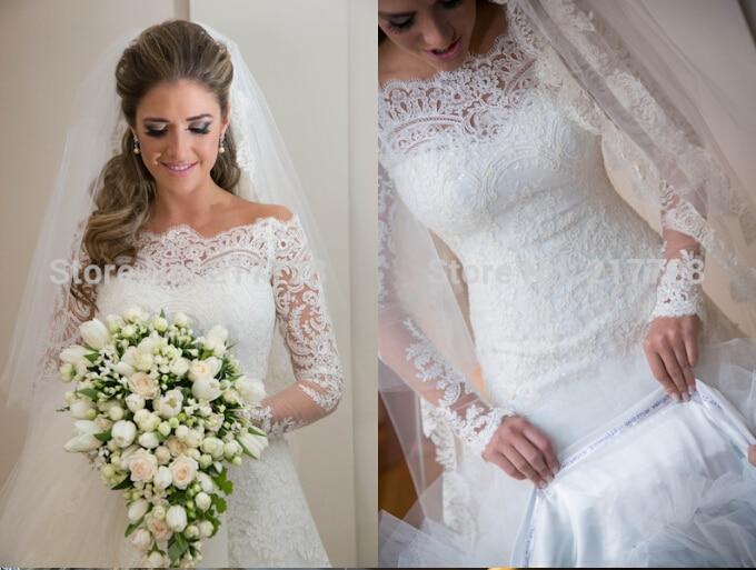 Vestido De Noiva Lace Appliques 2016 Casamento New Fashionable Sexy Long Sleeve Bride Bridal Gown Wedding Dress Free Shipping