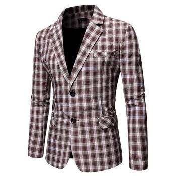 Aohuafeng Long Term Men Leisure Grid Two Grain Single Row Buckle Suit Coat Business Dress