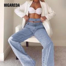 Женские джинсы с двойной высокой талией higareda повседневные