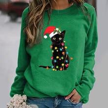 Richkeda Store New 2021  Women's Christmas Sweaters Print Letter O Neck Long Sleeve Casual South Korea Clothing Moletom Feminino