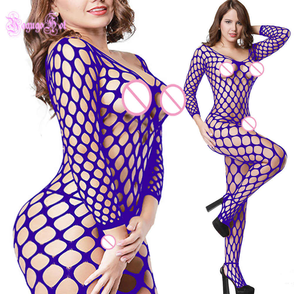 Sexy Hot Erotic Grande A Rete A Nido D'ape Backless V Cut Bodystocking Tuta Lingerie Tuta di Lattice Catsuit Wetlook + Calze e Autoreggenti