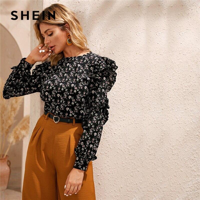 SHEIN Black Ditsy Floral Ruffle Trim Blouse Women Tops Spring Autumn Long Sleeve O-Neck Keyhole Black Casual Boho Blouses 1