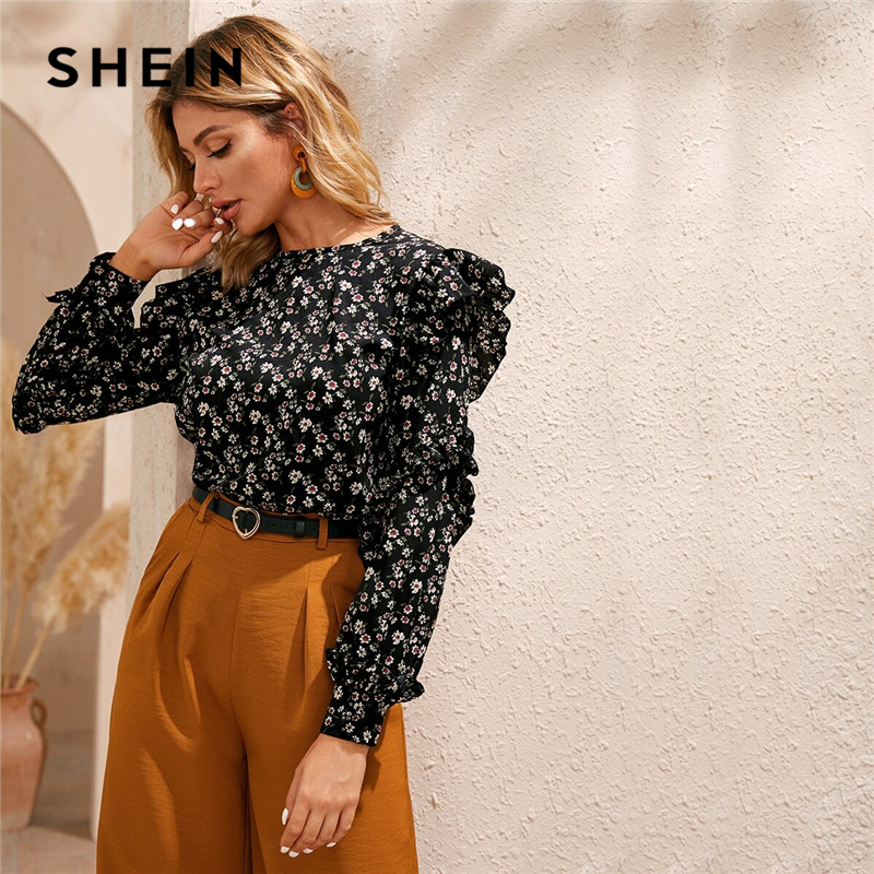 SHEIN Black Ditsy Floral Ruffle Trim Blouse Women Tops Spring Autumn Long Sleeve O-Neck Keyhole Black Casual Boho Blouses