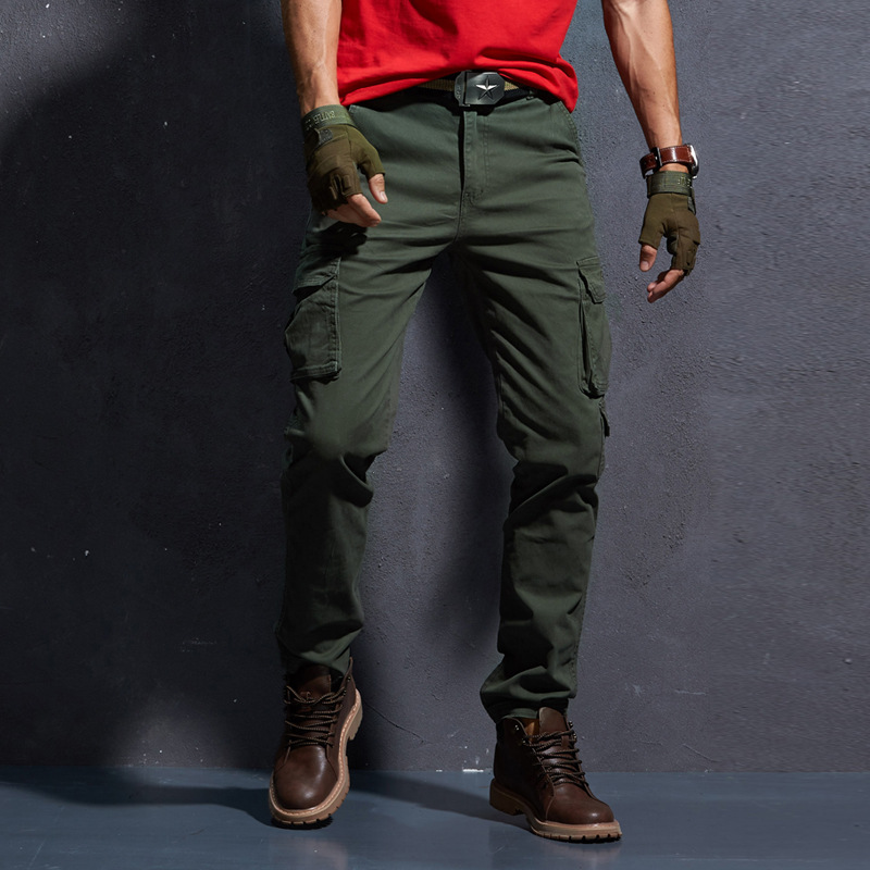 Newly Designer Fashion Men Jeans Slim Fit Multi Pockets Casual Cargo Pants Men Outdoors Army Green Military Long Trousers Hombre