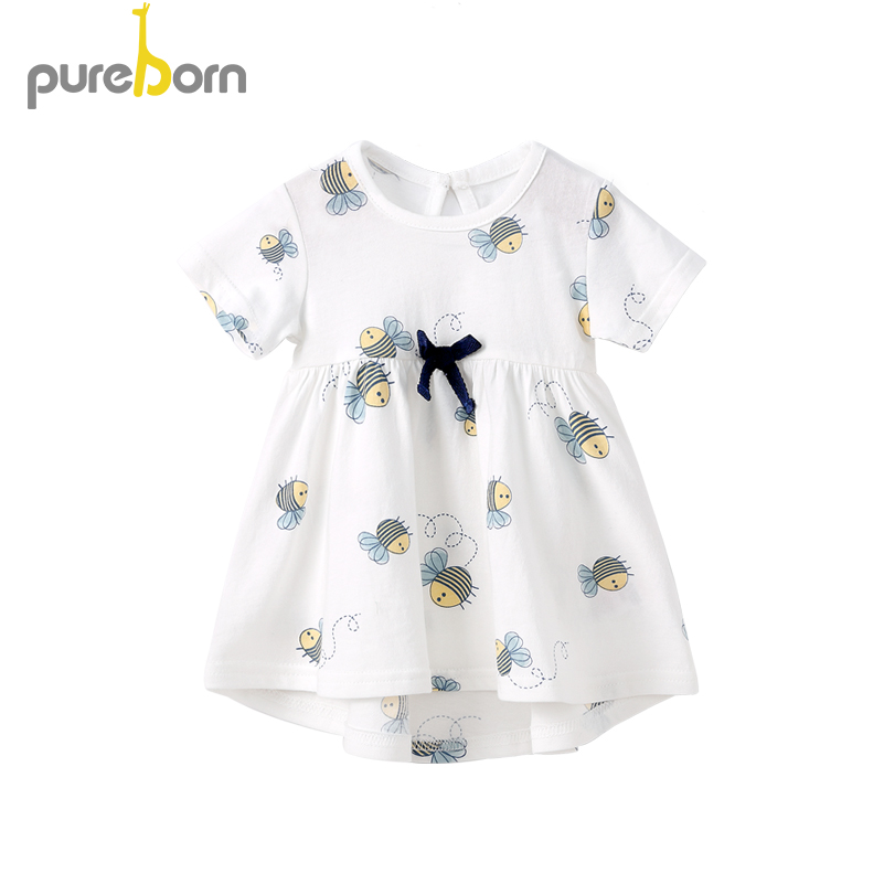 Pureborn Newborn Baby Girl Dress Stripes Bees Breathable Cotton Baby Dress Princess Summer Beach Holiday Baby Dress 0-24M
