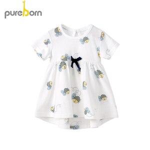 Pureborn vestido de bebê menina, recém-nascido, listras, respirável, vestido de bebê princesa, verão, praia, férias, vestido de bebê 0-24m m m