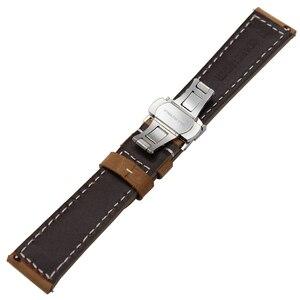 Image 3 - Itália pulseira de couro genuíno para huami amazfit gtr 47mm 42mm relógio inteligente banda liberação rápida borboleta fecho pulseira