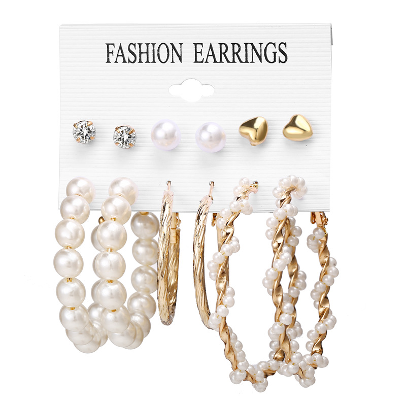 Ha12c43d483654a069b37a53d3c90f361W - IF ME Fashion Vintage Gold Pearl Round Circle Drop Earrings Set For Women Girl Large Acrylic Tortoise shell Dangle Ear Jewelry