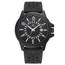 лучшая цена Hollow Circular Calendar Design Men Watch Luxury Brand Leather Strap Watch Men Wrist Quartz Waterproof Retro Relogio Masculino